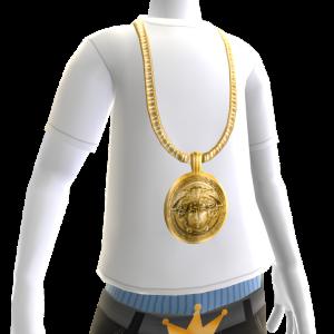Gold Medusa Chain on White Tee