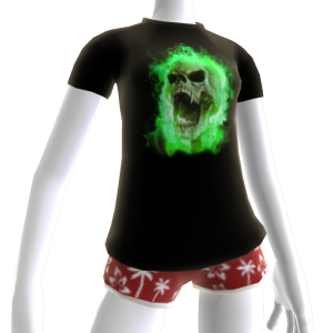 Green Fire Skull Shirt