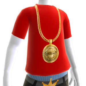 Gold Medusa Chain on Red Tee