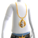 Gold Dollar Sign Chain on White Tee