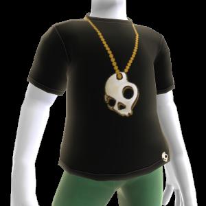 Black T & Gold Skull Necklace