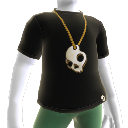 Black T & Gold Skull Necklace