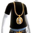 Gold Dollar Sign Chain on Black Tee