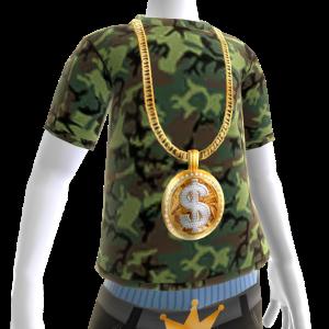 Gold Dollar Sign Chain on Camo Tee