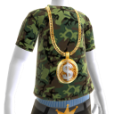 Gold Dollar Sign Chain on Camo Tee