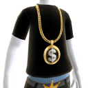 Gold Black Dollar Sign Chain on Black