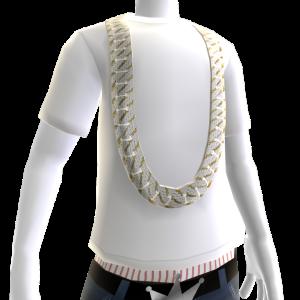 Diamond Gold Cuban Link (White Tee)