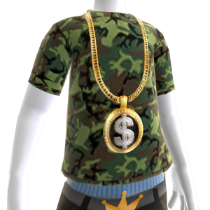Gold Black Dollar Sign Chain on Camo
