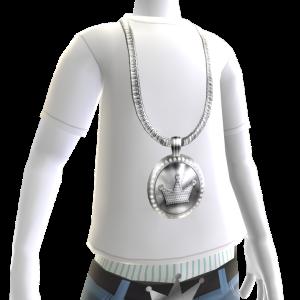 Platinum Crown Chain on White Tee