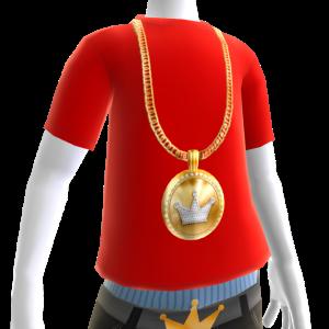 KKZ Medallion Chain on Red Tee
