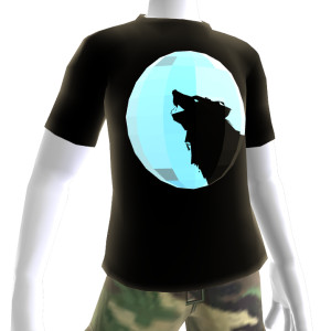 Silver Chrome Wolf Black Shirt