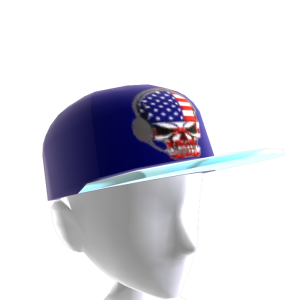 USA Gamer Skull Blue Chrome Silver