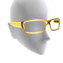 Rectangle Glasses - Gold