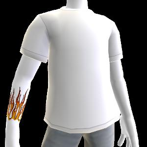 Flammen Tatto & T-Shirt weiß