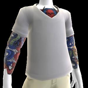White V-Neck With Tattoos