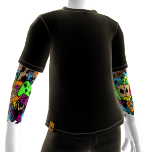 Color Tattoo Sleeve with Black Shirt