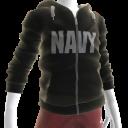 Navy Zip Hoodie - Black