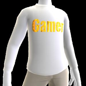 White Gamer Gold LS Shirt