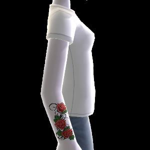 Blumen Tattoo & T-Shirt weiß