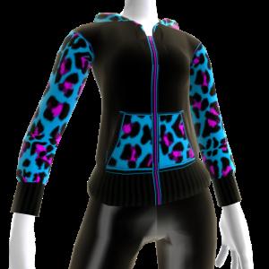 Blue Leopard Print Hoodie