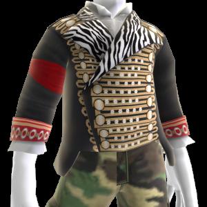 Chaqueta militar y camisa con chorreras
