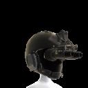 Casco negro congafas de visión nocturna