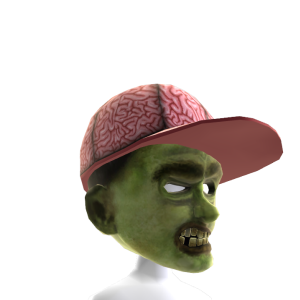Zombie Mask with Brain Hat