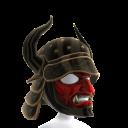 Black Horned Helmet & Red Mask