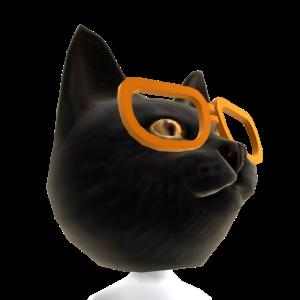 Blk Cat Head Org Glasses