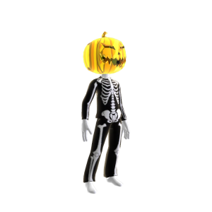 Epic Blk Skeleton Suit Chrm Pumpkin