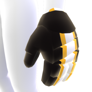 Black with Gold and White Trim Hockey Gloves