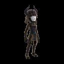 Costume de samouraï noir à cornes