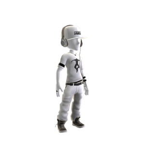 Grunge Hip Hop - White With Headphones