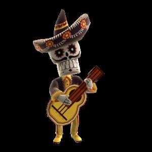 Squelette à la guitare